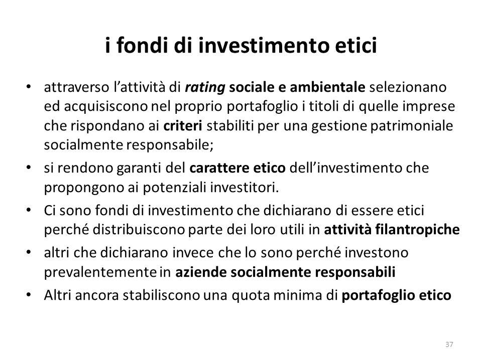 i fondi di investimento etici attraverso lattività di rating sociale e ambientale selezionano ed acquisiscono nel proprio portafoglio i titoli di quelle imprese che rispondano ai criteri stabiliti per una gestione patrimoniale socialmente responsabile; si rendono garanti del carattere etico dellinvestimento che propongono ai potenziali investitori.
