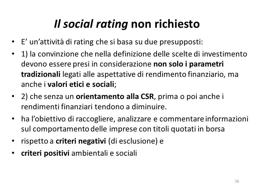 Il social rating non richiesto E unattività di rating che si basa su due presupposti: 1) la convinzione che nella definizione delle scelte di investimento devono essere presi in considerazione non solo i parametri tradizionali legati alle aspettative di rendimento finanziario, ma anche i valori etici e sociali; 2) che senza un orientamento alla CSR, prima o poi anche i rendimenti finanziari tendono a diminuire.
