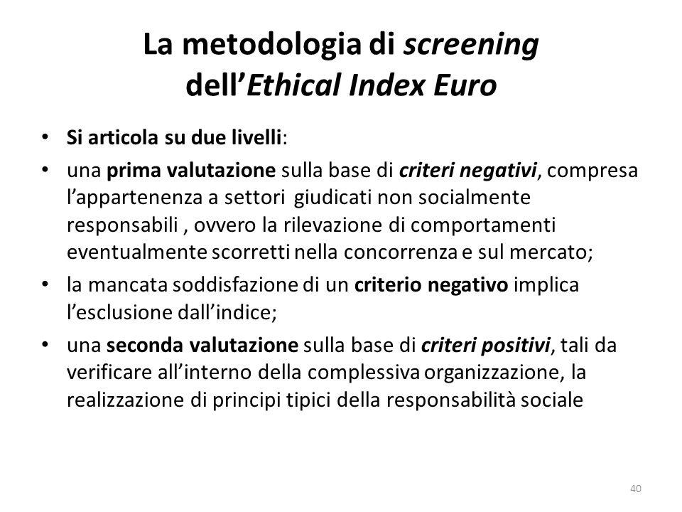La metodologia di screening dellEthical Index Euro Si articola su due livelli: una prima valutazione sulla base di criteri negativi, compresa lappartenenza a settori giudicati non socialmente responsabili, ovvero la rilevazione di comportamenti eventualmente scorretti nella concorrenza e sul mercato; la mancata soddisfazione di un criterio negativo implica lesclusione dallindice; una seconda valutazione sulla base di criteri positivi, tali da verificare allinterno della complessiva organizzazione, la realizzazione di principi tipici della responsabilità sociale 40