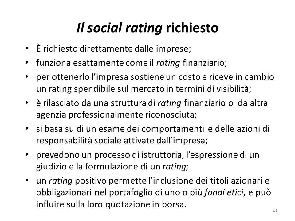 Il social rating richiesto È richiesto direttamente dalle imprese; funziona esattamente come il rating finanziario; per ottenerlo limpresa sostiene un costo e riceve in cambio un rating spendibile sul mercato in termini di visibilità; è rilasciato da una struttura di rating finanziario o da altra agenzia professionalmente riconosciuta; si basa su di un esame dei comportamenti e delle azioni di responsabilità sociale attivate dallimpresa; prevedono un processo di istruttoria, lespressione di un giudizio e la formulazione di un rating; un rating positivo permette linclusione dei titoli azionari e obbligazionari nel portafoglio di uno o più fondi etici, e può influire sulla loro quotazione in borsa.