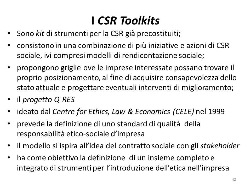 I CSR Toolkits Sono kit di strumenti per la CSR già precostituiti; consistono in una combinazione di più iniziative e azioni di CSR sociale, ivi compresi modelli di rendicontazione sociale; propongono griglie ove le imprese interessate possano trovare il proprio posizionamento, al fine di acquisire consapevolezza dello stato attuale e progettare eventuali interventi di miglioramento; il progetto Q-RES ideato dal Centre for Ethics, Law & Economics (CELE) nel 1999 prevede la definizione di uno standard di qualità della responsabilità etico-sociale dimpresa il modello si ispira allidea del contratto sociale con gli stakeholder ha come obiettivo la definizione di un insieme completo e integrato di strumenti per lintroduzione delletica nellimpresa 42