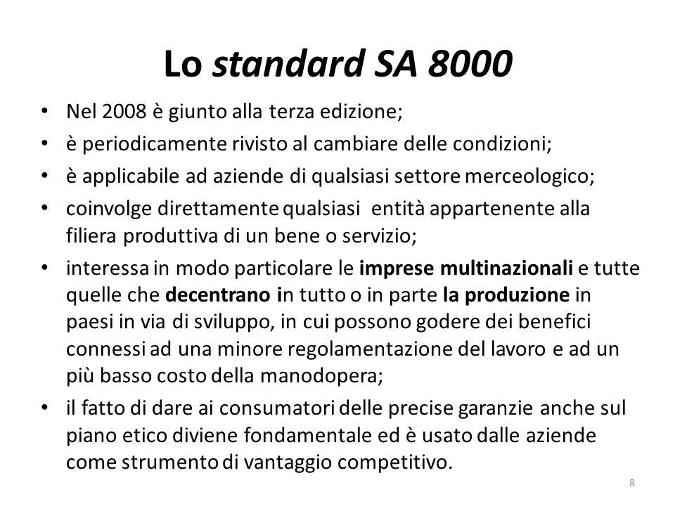 Lo standard SA 8000 Nel 2008 è giunto alla terza edizione; è periodicamente rivisto al cambiare delle condizioni; è applicabile ad aziende di qualsiasi settore merceologico; coinvolge direttamente qualsiasi entità appartenente alla filiera produttiva di un bene o servizio; interessa in modo particolare le imprese multinazionali e tutte quelle che decentrano in tutto o in parte la produzione in paesi in via di sviluppo, in cui possono godere dei benefici connessi ad una minore regolamentazione del lavoro e ad un più basso costo della manodopera; il fatto di dare ai consumatori delle precise garanzie anche sul piano etico diviene fondamentale ed è usato dalle aziende come strumento di vantaggio competitivo.