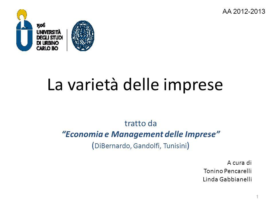 La varietà delle imprese tratto da Economia e Management delle Imprese ( DiBernardo, Gandolfi, Tunisini ) 1 A cura di Tonino Pencarelli Linda Gabbiane