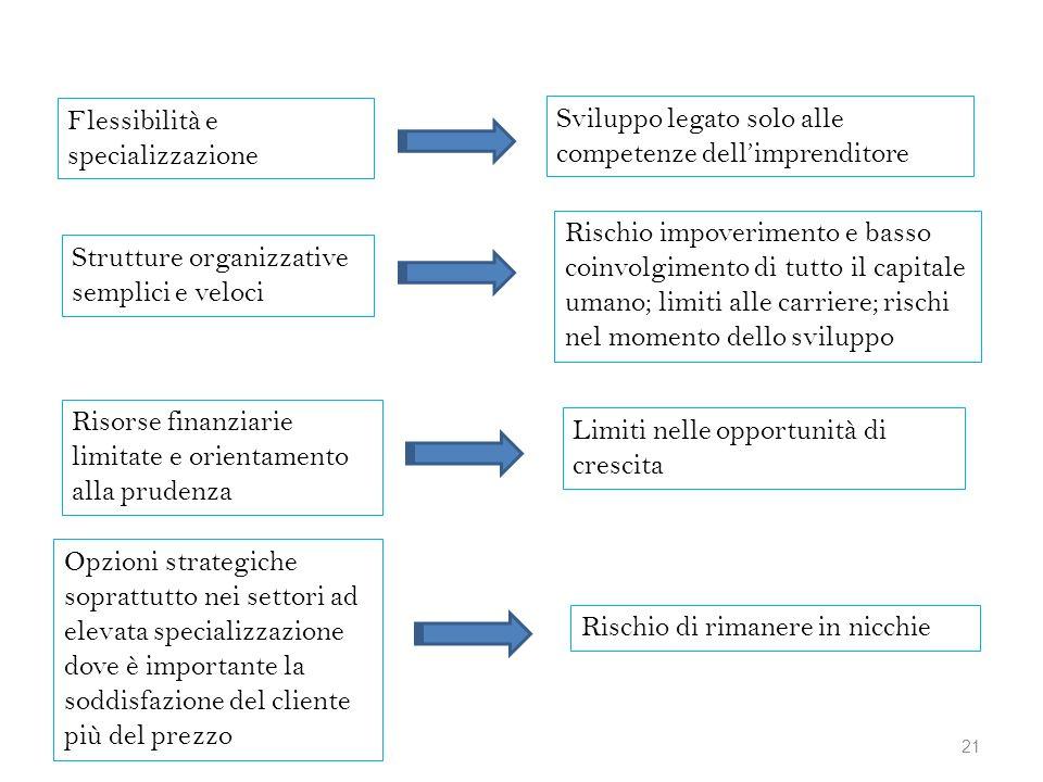 Flessibilità e specializzazione Sviluppo legato solo alle competenze dellimprenditore Strutture organizzative semplici e veloci Rischio impoverimento
