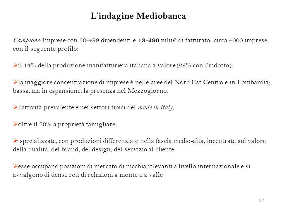 Lindagine Mediobanca Campione : Imprese con 50-499 dipendenti e 13-290 mln di fatturato: circa 4000 imprese con il seguente profilo: il 14% della prod