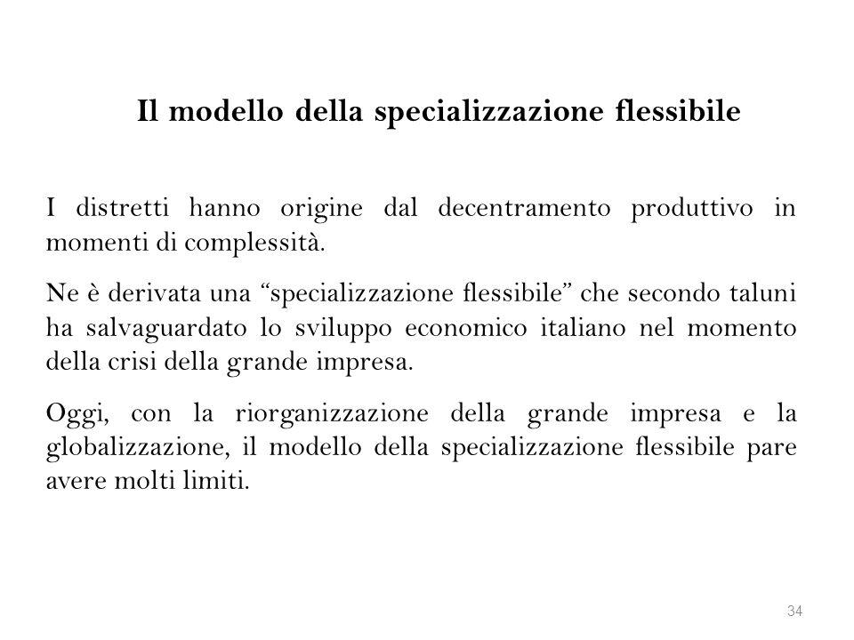 Il modello della specializzazione flessibile I distretti hanno origine dal decentramento produttivo in momenti di complessità. Ne è derivata una speci