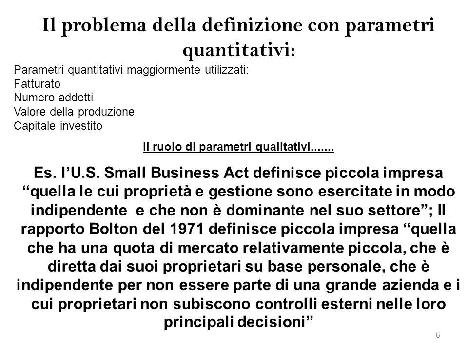 Il problema della definizione con parametri quantitativi: Parametri quantitativi maggiormente utilizzati: Fatturato Numero addetti Valore della produz
