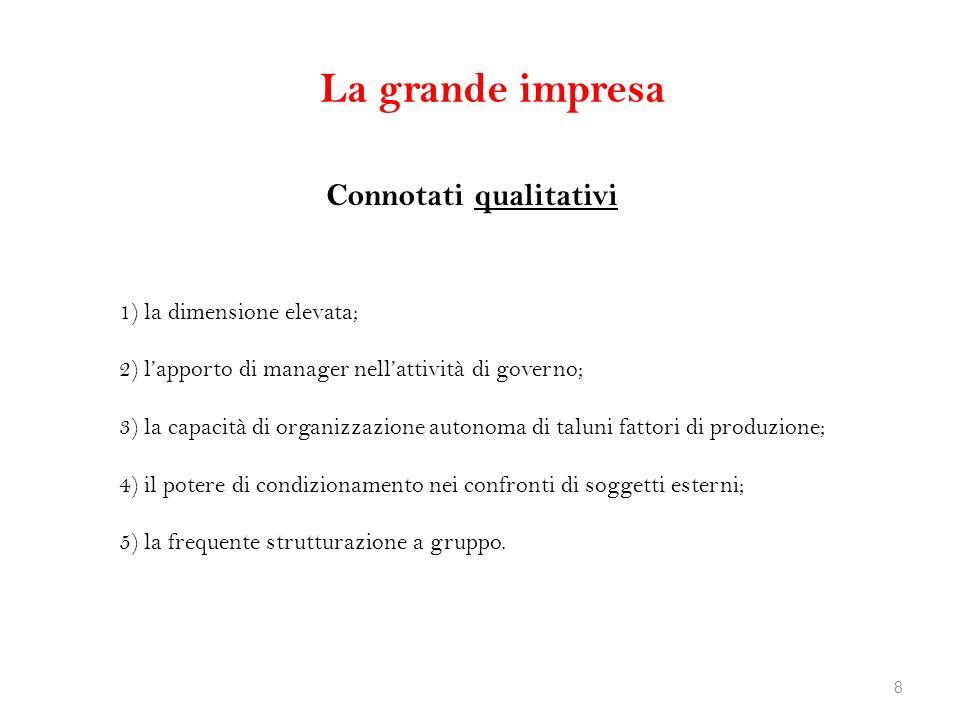 La grande impresa Connotati qualitativi 1) la dimensione elevata; 2) lapporto di manager nellattività di governo; 3) la capacità di organizzazione aut