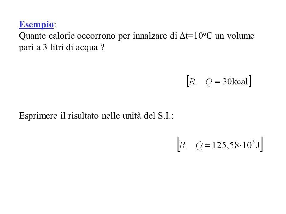 Esempio: Quante calorie occorrono per innalzare di t=10 o C un volume pari a 3 litri di acqua ? Esprimere il risultato nelle unità del S.I.: