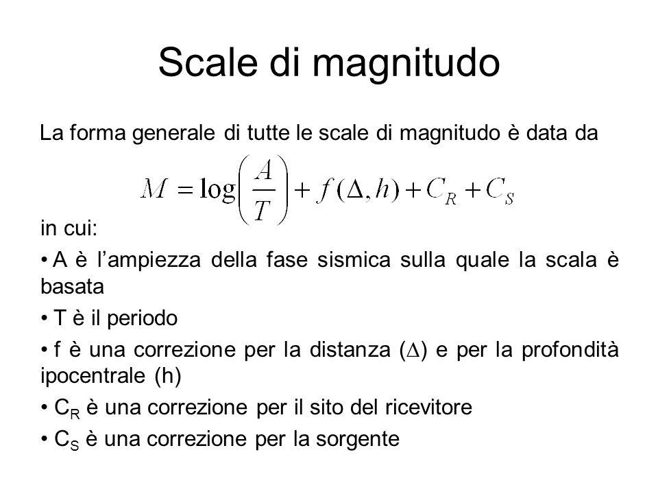 Scale di magnitudo La forma generale di tutte le scale di magnitudo è data da in cui: A è lampiezza della fase sismica sulla quale la scala è basata T