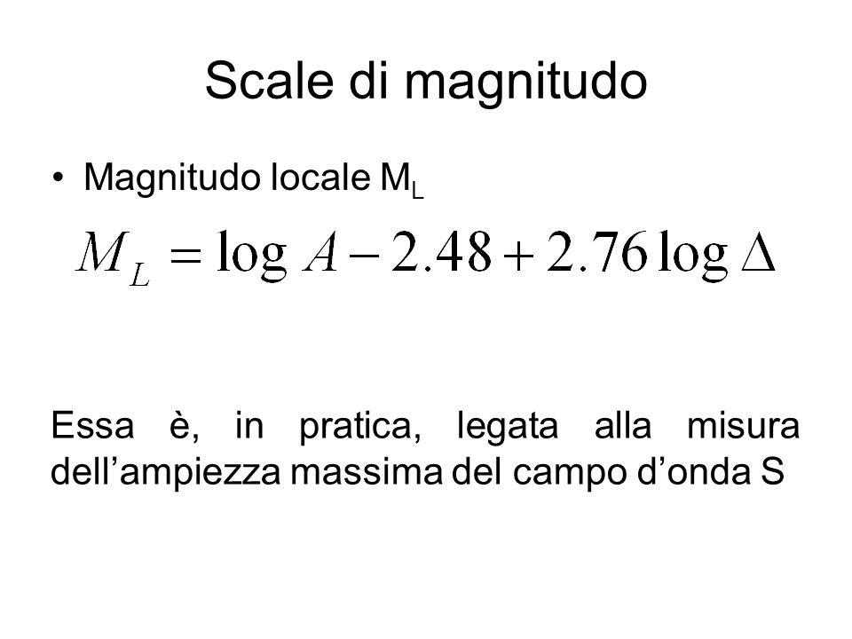 Scale di magnitudo Magnitudo locale M L Essa è, in pratica, legata alla misura dellampiezza massima del campo donda S