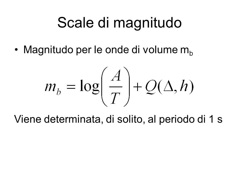 Scale di magnitudo Magnitudo per le onde di volume m b Viene determinata, di solito, al periodo di 1 s
