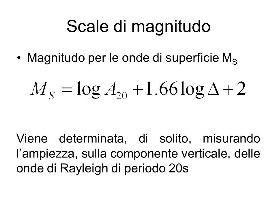 Scale di magnitudo Magnitudo per le onde di superficie M S Viene determinata, di solito, misurando lampiezza, sulla componente verticale, delle onde d