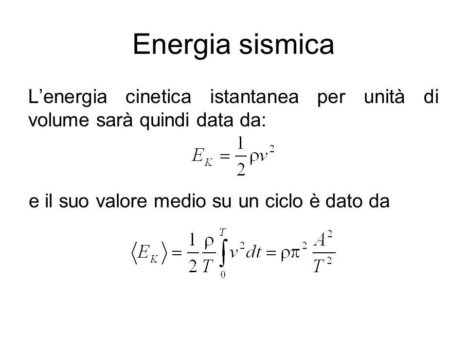 Energia sismica Lenergia cinetica istantanea per unità di volume sarà quindi data da: e il suo valore medio su un ciclo è dato da