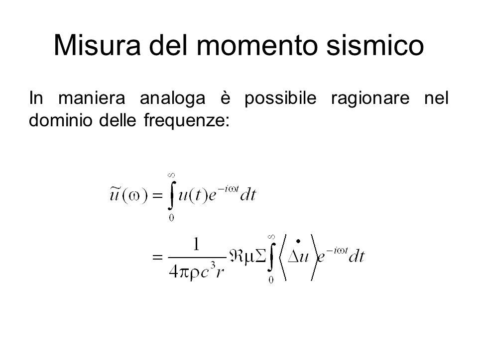 Misura del momento sismico In maniera analoga è possibile ragionare nel dominio delle frequenze: