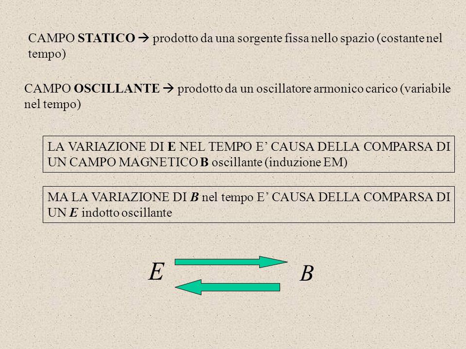 CAMPO STATICO prodotto da una sorgente fissa nello spazio (costante nel tempo) CAMPO OSCILLANTE prodotto da un oscillatore armonico carico (variabile