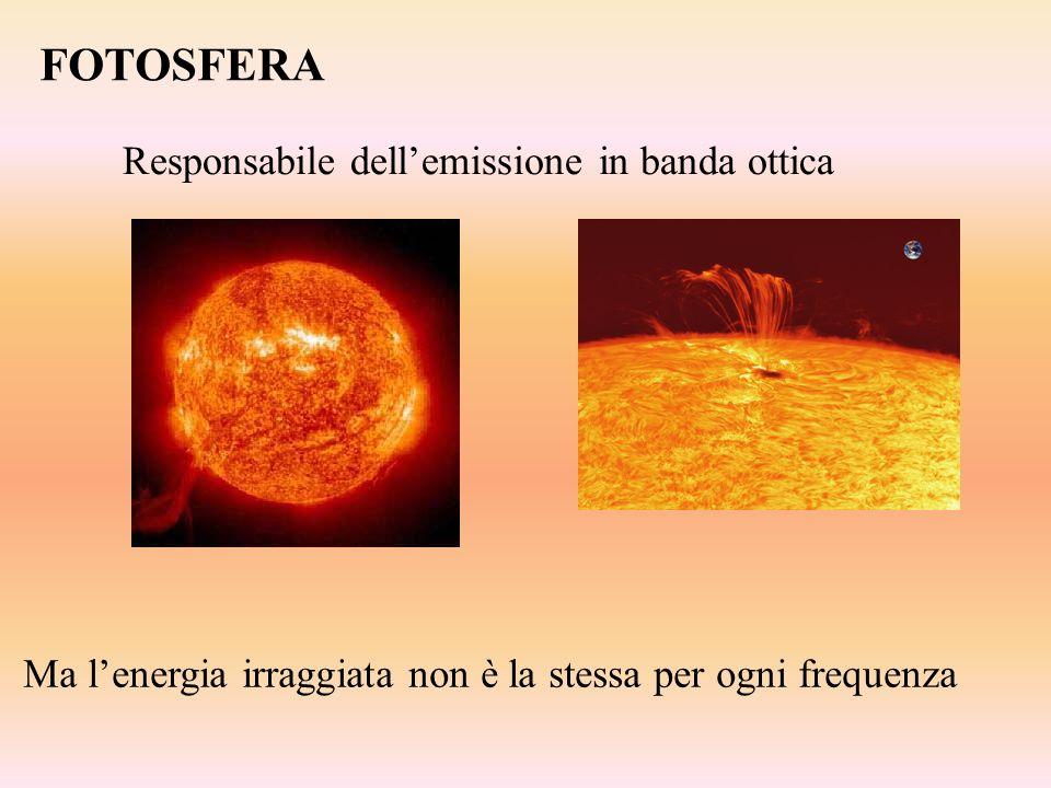 FOTOSFERA Responsabile dellemissione in banda ottica Ma lenergia irraggiata non è la stessa per ogni frequenza