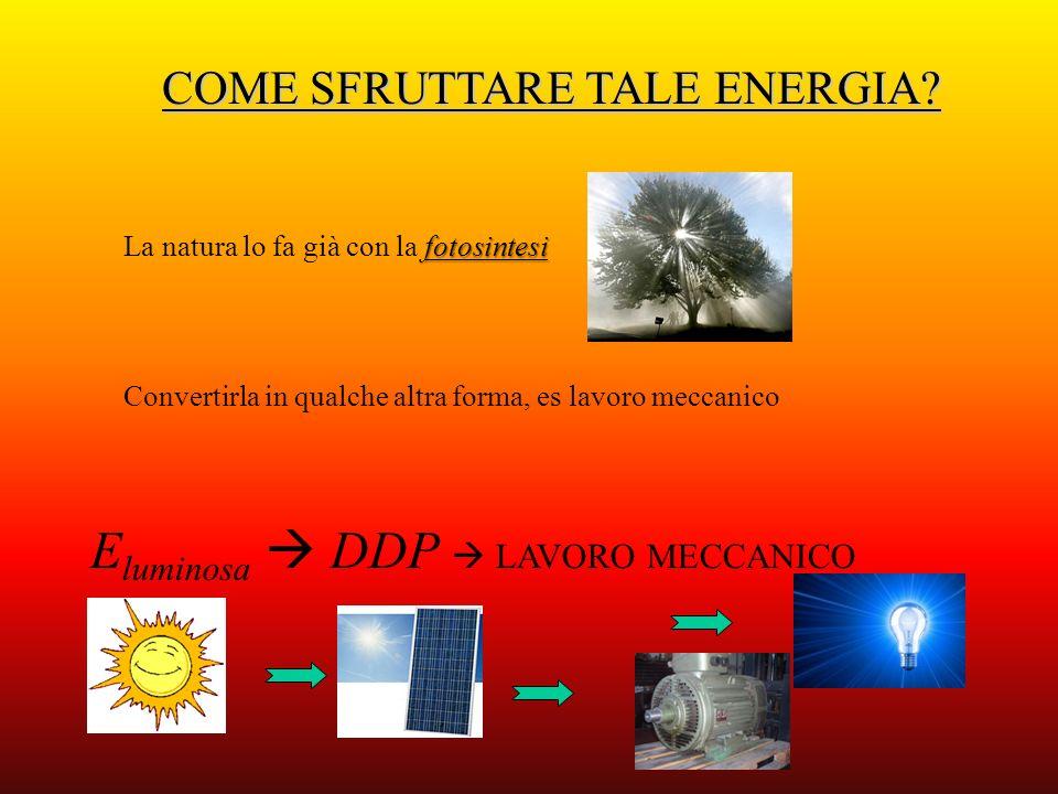 COME SFRUTTARE TALE ENERGIA? Convertirla in qualche altra forma, es lavoro meccanico fotosintesi La natura lo fa già con la fotosintesi E luminosa DDP