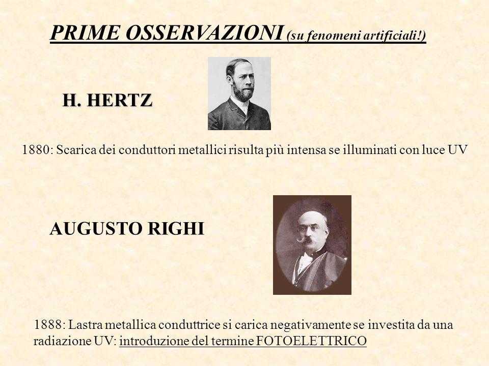 PRIME OSSERVAZIONI (su fenomeni artificiali!) AUGUSTO RIGHI 1888: Lastra metallica conduttrice si carica negativamente se investita da una radiazione