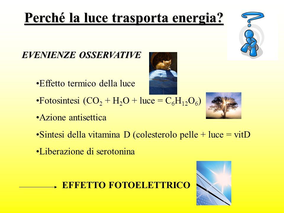 Allora la luce DEVE trasportare energia (J/erg) per produrre questi effetti (chimici e fisici), ma anche perché è prodotta consumando energia LAMPADA AD INCANDESCENZA : R attraversata da I (effetto Joule) CORPO INCANDESCENTE: è stato riscaldato fornendo Q (> agitazione termica), effetto termodinamico STELLA: reazione di fusione nucleare MA QUANTA ENERGIA?