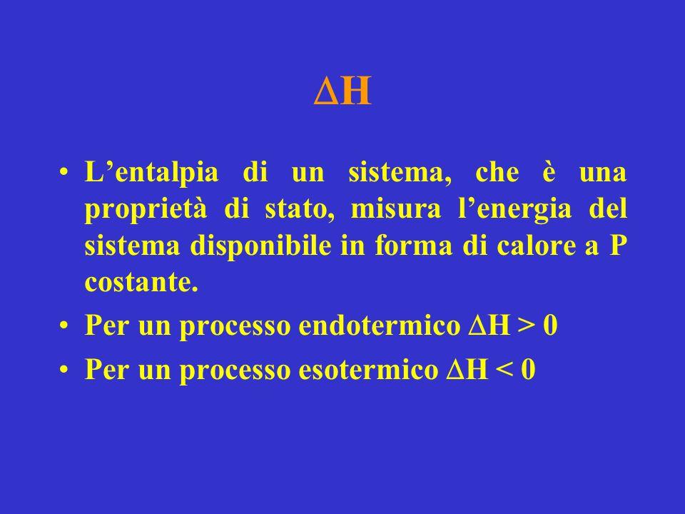 H Lentalpia di un sistema, che è una proprietà di stato, misura lenergia del sistema disponibile in forma di calore a P costante.