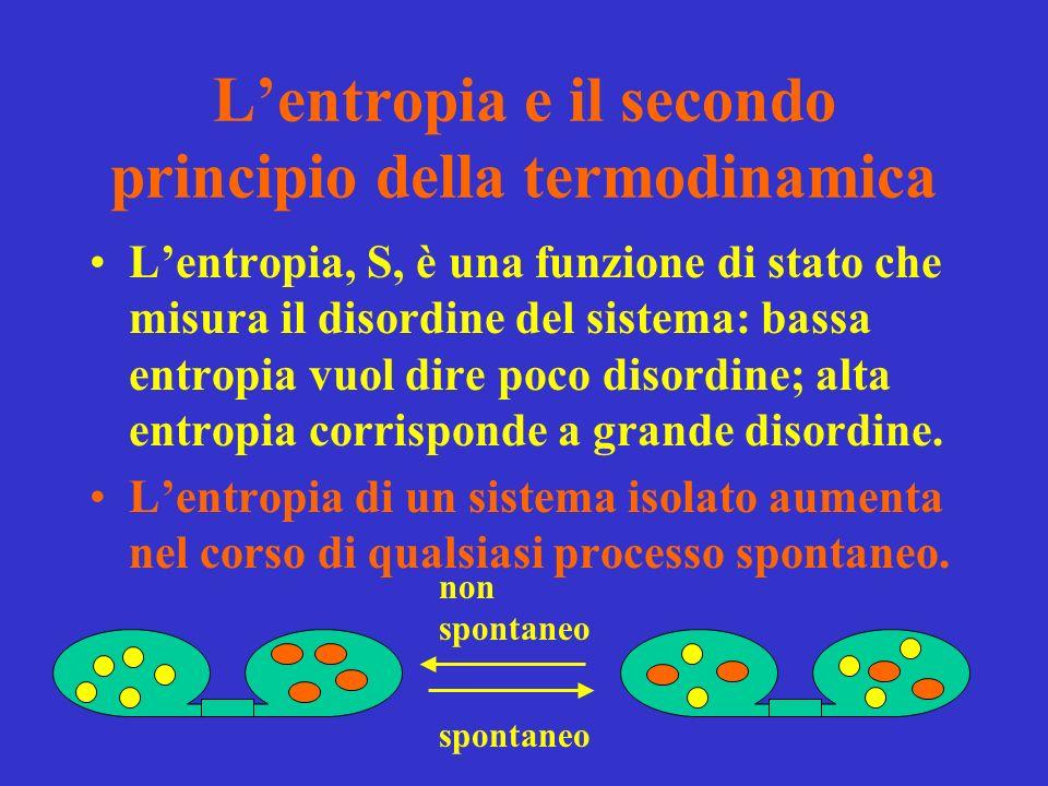 Lentropia e il secondo principio della termodinamica Lentropia, S, è una funzione di stato che misura il disordine del sistema: bassa entropia vuol dire poco disordine; alta entropia corrisponde a grande disordine.