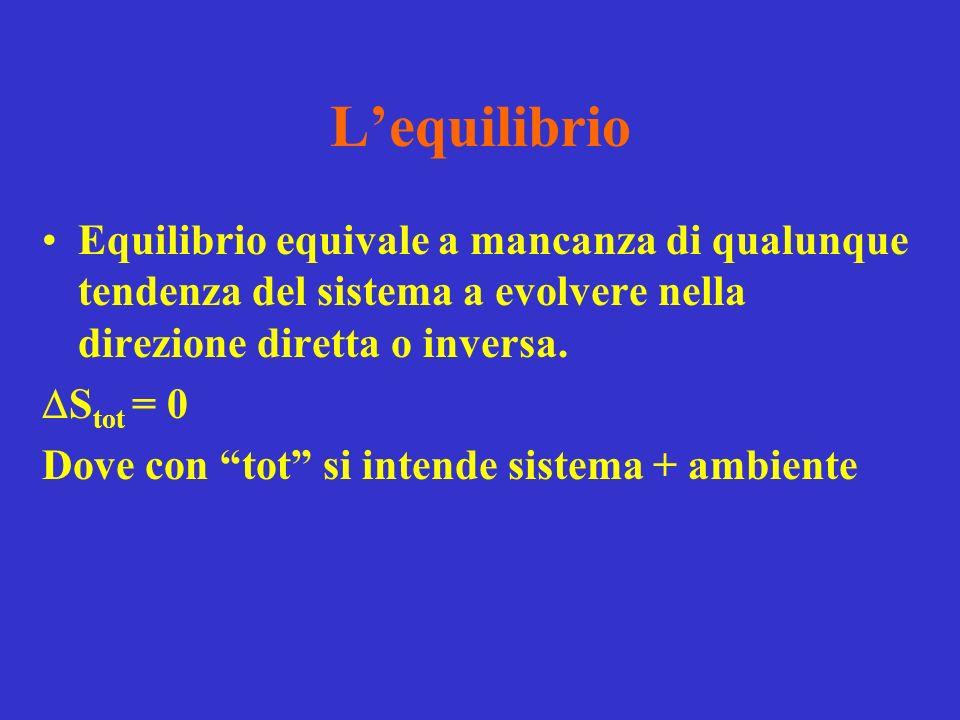 Lequilibrio Equilibrio equivale a mancanza di qualunque tendenza del sistema a evolvere nella direzione diretta o inversa.