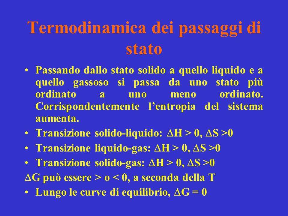 Termodinamica dei passaggi di stato Passando dallo stato solido a quello liquido e a quello gassoso si passa da uno stato più ordinato a uno meno ordinato.