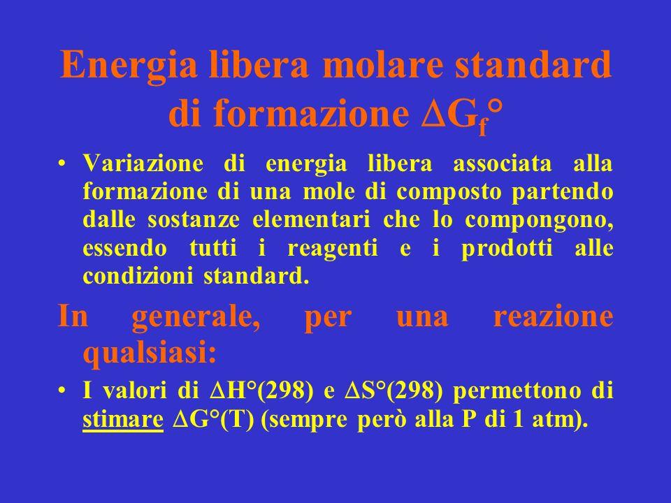 Energia libera molare standard di formazione G f ° Variazione di energia libera associata alla formazione di una mole di composto partendo dalle sostanze elementari che lo compongono, essendo tutti i reagenti e i prodotti alle condizioni standard.