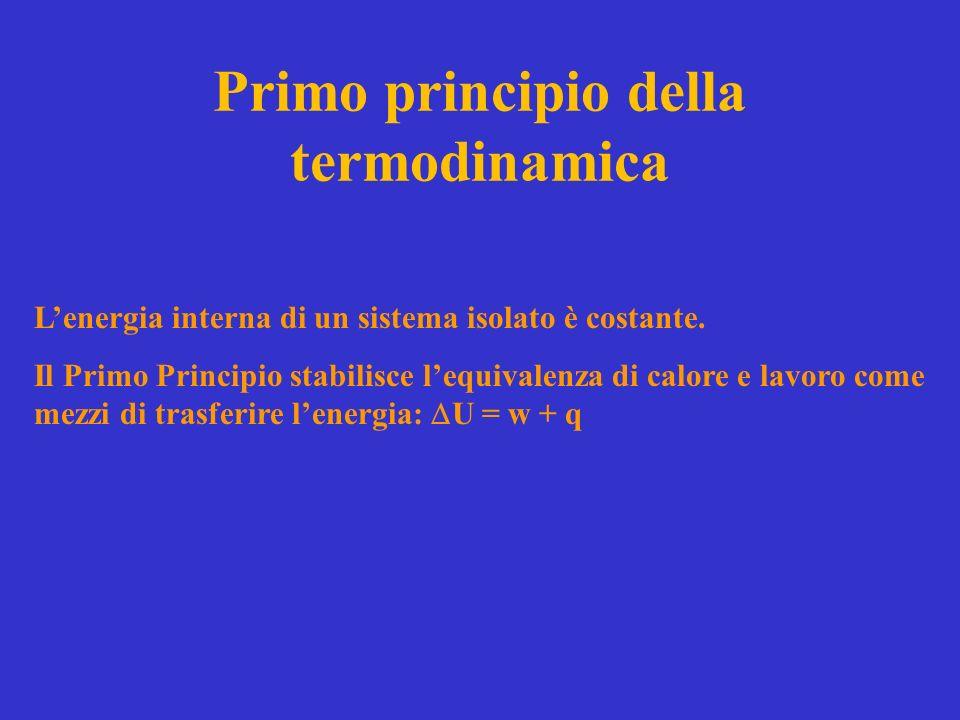 Primo principio della termodinamica Lenergia interna di un sistema isolato è costante.