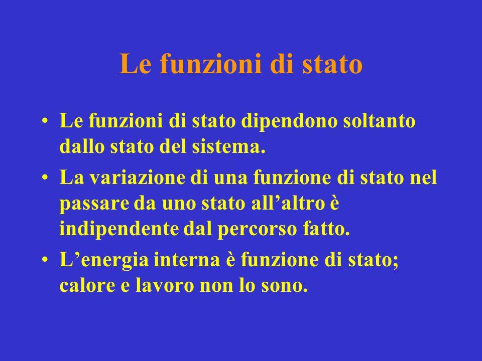 Le funzioni di stato Le funzioni di stato dipendono soltanto dallo stato del sistema.