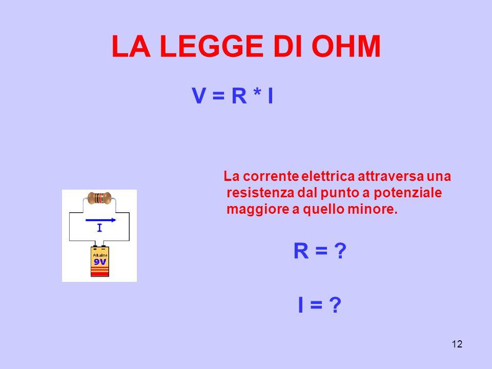 12 LA LEGGE DI OHM V = R * I R = ? I = ? La corrente elettrica attraversa una resistenza dal punto a potenziale maggiore a quello minore.