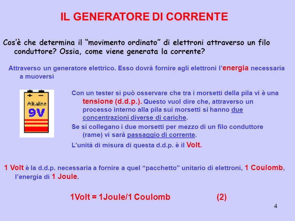 4 Cosè che determina il movimento ordinato di elettroni attraverso un filo conduttore? Ossia, come viene generata la corrente? IL GENERATORE DI CORREN