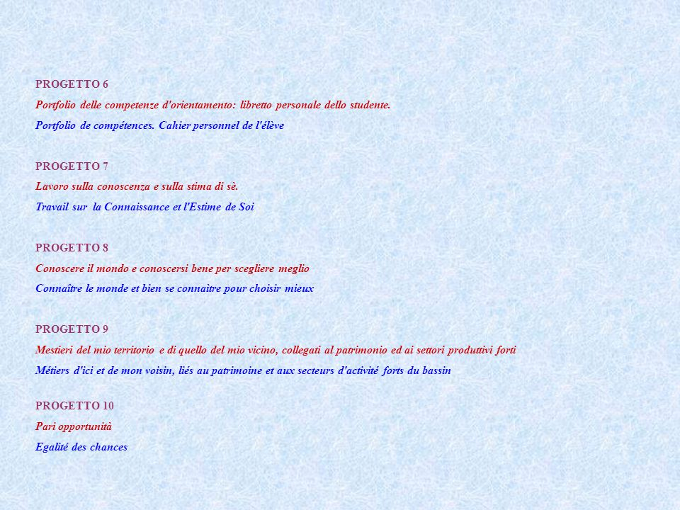 PROGETTO 6 Portfolio delle competenze d'orientamento: libretto personale dello studente. Portfolio de compétences. Cahier personnel de l'élève PROGETT