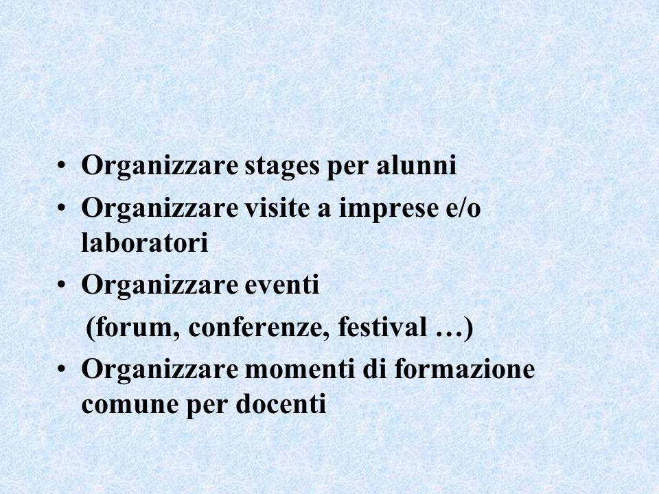 Organizzare stages per alunni Organizzare visite a imprese e/o laboratori Organizzare eventi (forum, conferenze, festival …) Organizzare momenti di formazione comune per docenti