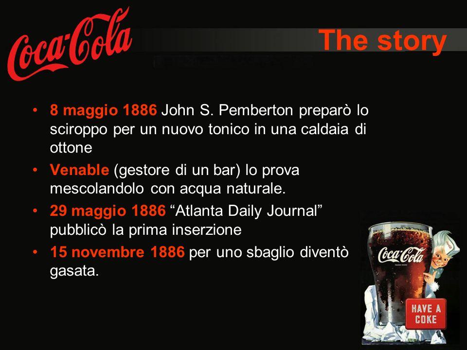 The story 8 maggio 1886 John S. Pemberton preparò lo sciroppo per un nuovo tonico in una caldaia di ottone Venable (gestore di un bar) lo prova mescol