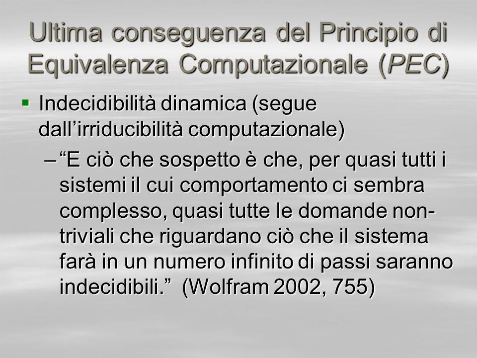 Ultima conseguenza del Principio di Equivalenza Computazionale (PEC) Indecidibilità dinamica (segue dallirriducibilità computazionale) Indecidibilità
