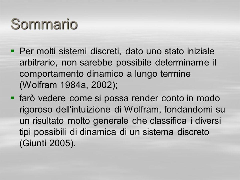 Sommario Per molti sistemi discreti, dato uno stato iniziale arbitrario, non sarebbe possibile determinarne il comportamento dinamico a lungo termine