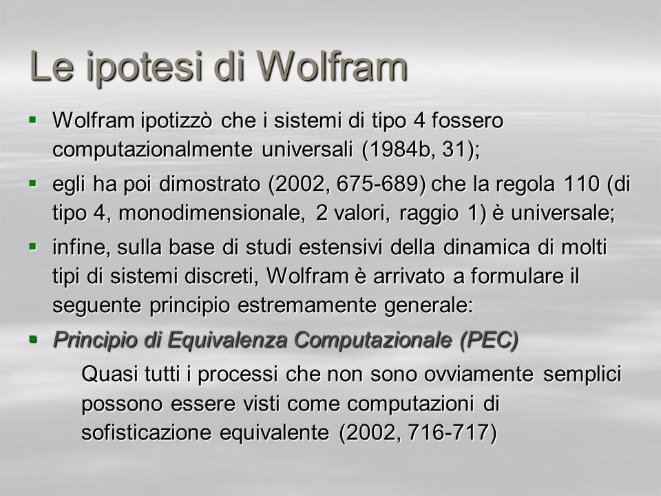 Le ipotesi di Wolfram Wolfram ipotizzò che i sistemi di tipo 4 fossero computazionalmente universali (1984b, 31); Wolfram ipotizzò che i sistemi di ti