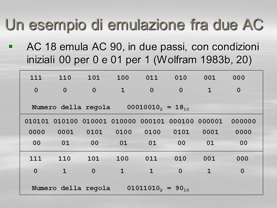 Un esempio di emulazione fra due AC AC 18 emula AC 90, in due passi, con condizioni iniziali 00 per 0 e 01 per 1 (Wolfram 1983b, 20) AC 18 emula AC 90