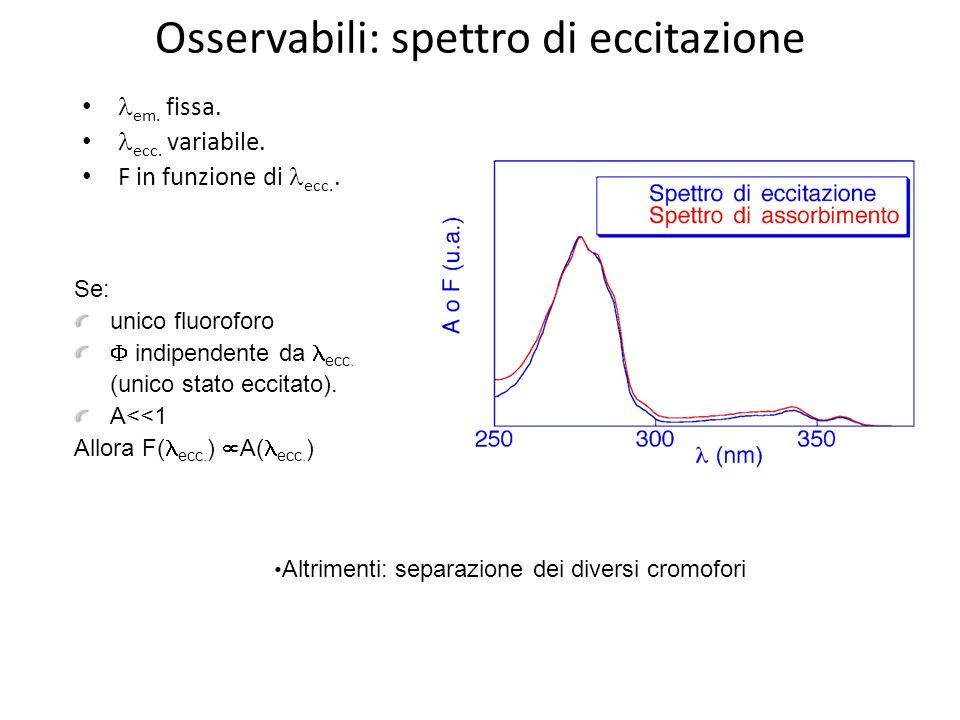 Osservabili: spettro di eccitazione em. fissa. ecc. variabile. F in funzione di ecc.. Se: unico fluoroforo indipendente da ecc. (unico stato eccitato)