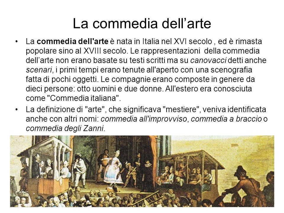 La commedia dellarte La commedia dell arte è nata in Italia nel XVI secolo, ed è rimasta popolare sino al XVIII secolo.