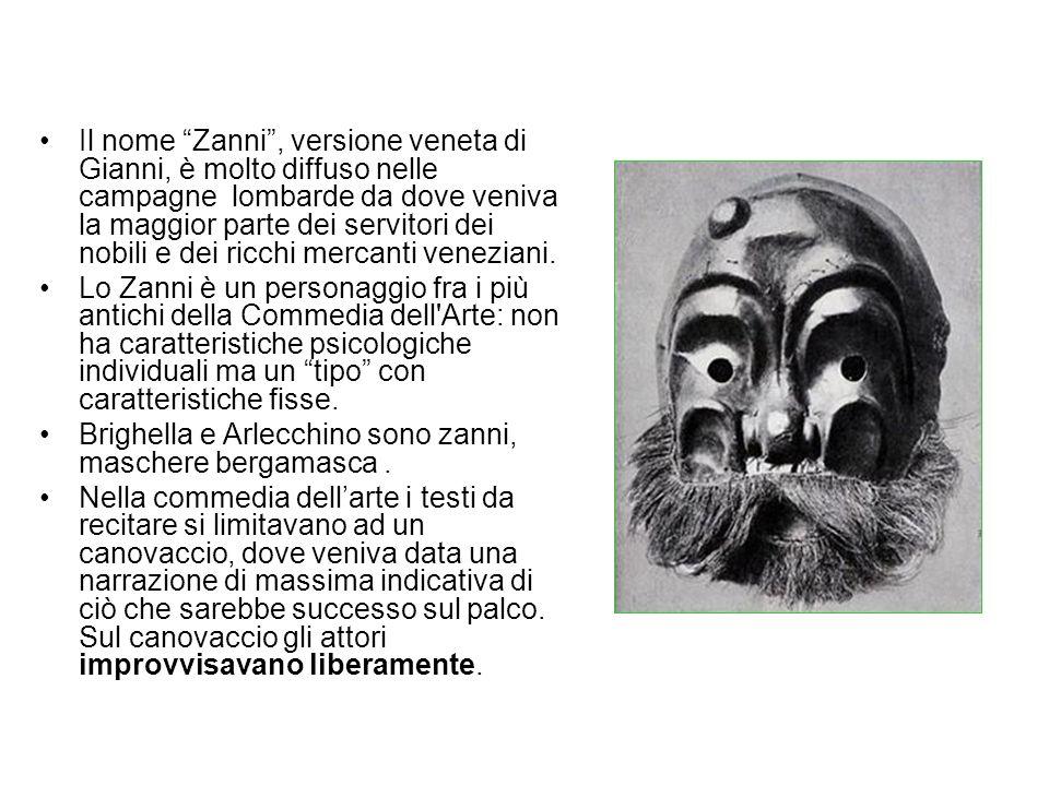 Il nome Zanni, versione veneta di Gianni, è molto diffuso nelle campagne lombarde da dove veniva la maggior parte dei servitori dei nobili e dei ricchi mercanti veneziani.