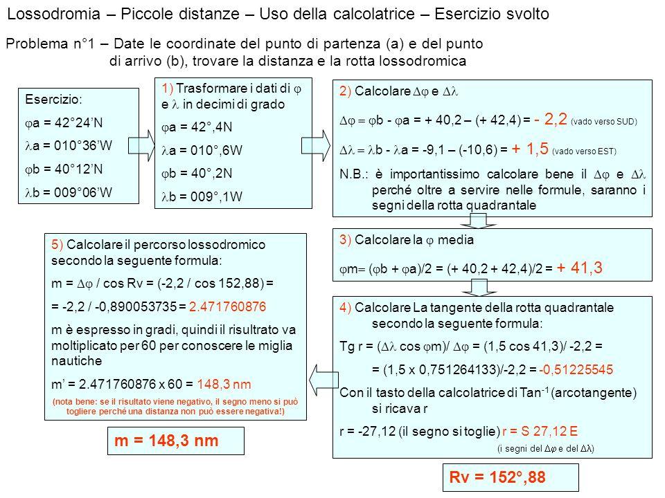 Lossodromia – Piccole distanze – Uso della calcolatrice – Esercizio svolto Problema n°1 – Date le coordinate del punto di partenza (a) e del punto di