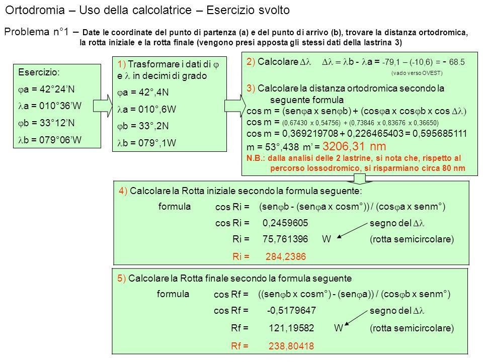Ortodromia – Uso della calcolatrice – Esercizio svolto Problema n°1 – Date le coordinate del punto di partenza (a) e del punto di arrivo (b), trovare