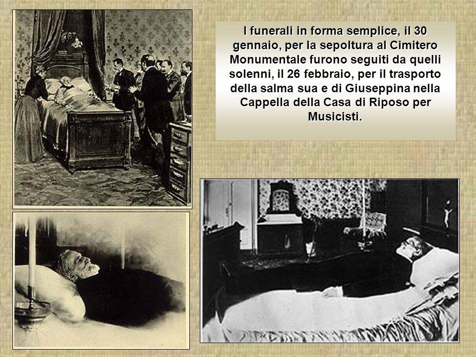 Fu l amicizia con Arrigo Boito a far nascere Otello e poi Falstaff, ma la morte della consorte, il 14 novembre 1897, spense la sua carica vitale.