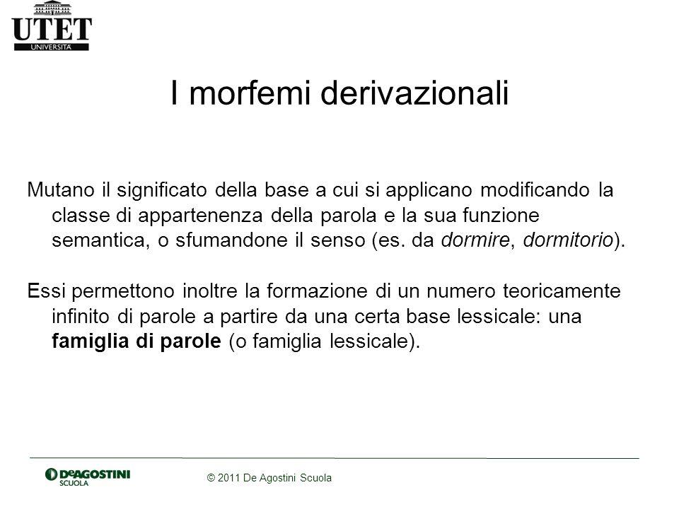 © 2011 De Agostini Scuola I morfemi derivazionali Mutano il significato della base a cui si applicano modificando la classe di appartenenza della paro
