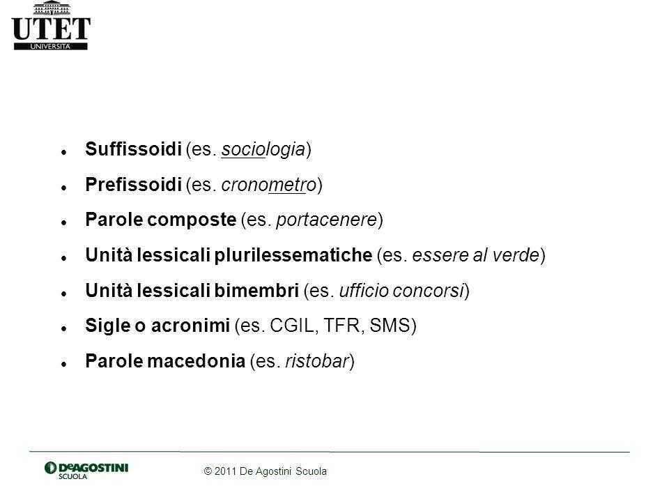 © 2011 De Agostini Scuola Suffissoidi (es. sociologia) Prefissoidi (es. cronometro) Parole composte (es. portacenere) Unità lessicali plurilessematich