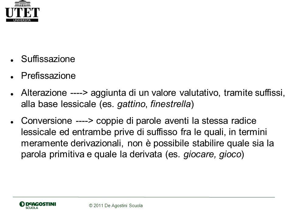 © 2011 De Agostini Scuola Suffissazione Prefissazione Alterazione ----> aggiunta di un valore valutativo, tramite suffissi, alla base lessicale (es. g