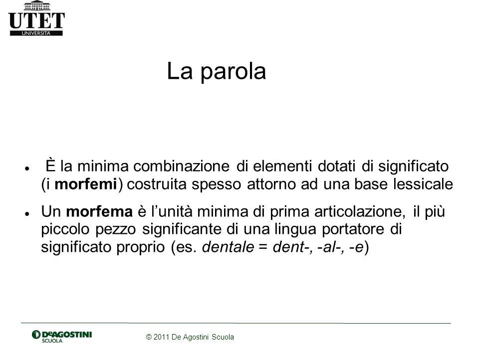 © 2011 De Agostini Scuola La parola È la minima combinazione di elementi dotati di significato (i morfemi) costruita spesso attorno ad una base lessic